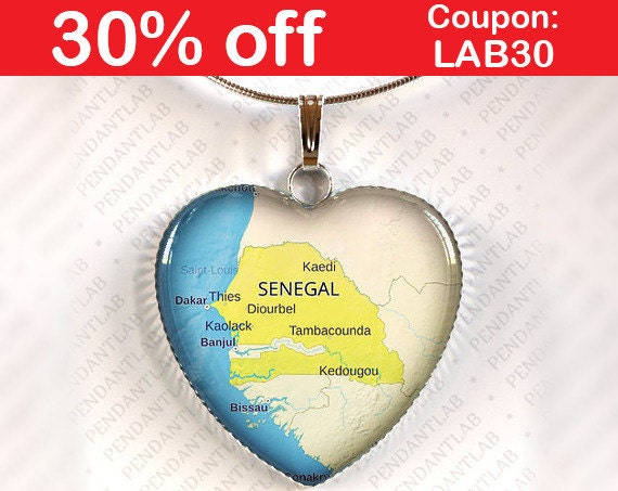 Senegal Map Pendant Necklace Jewelry Charm Gift Heart - Pikine map