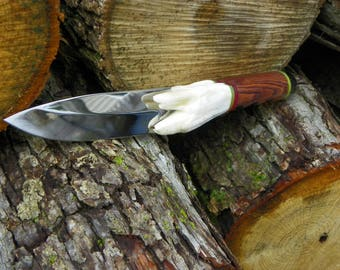 Hunting Knife, Survival Knife, Collectors Knife, Artisan Knife, Bison Molar Knife, Bison Molar Handle, Custom Handle, Custom Knife, Buffalo