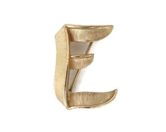 "Vintage Initial Brooch, Trifari Monogrammed Brooch, Letter ""E"" Pin, Matte Gold Pin"