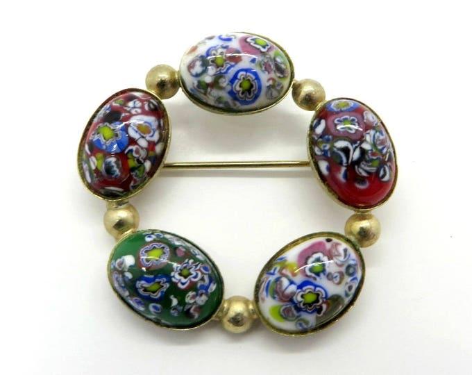 Millefiori Circle Brooch Vintage Italian Glass Pin, Gold Tone Colorful Pin Estate Costume Jewelry