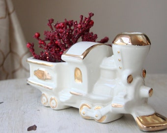 Ceramic Train Planter, New Baby Gift, White and Gold, Desktop, Pencil Holder, Ceramic, Vintage Pottery, Vintage Nursery, Choo-Choo WTH-1472