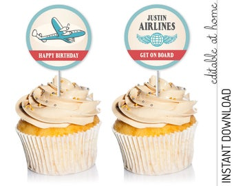 Airplane Cupcake Topper, Airplane Party Circles, Printable INSTANT DOWNLOAD you personalize at home