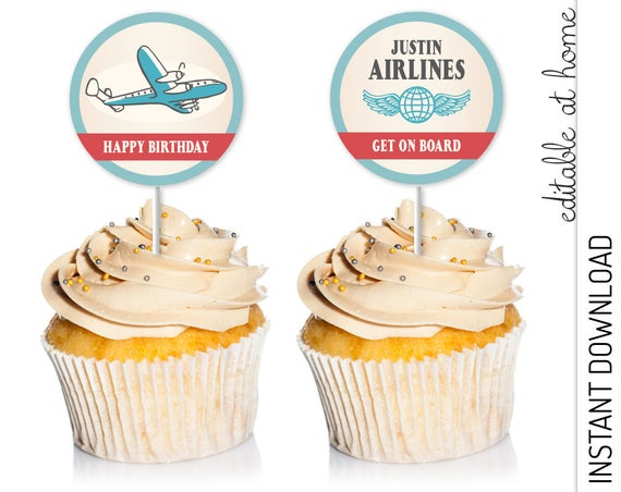 Airplane Cupcake Topper INSTANT DOWNLOAD