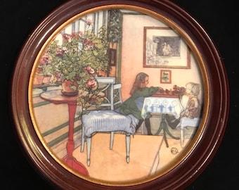 """Carl Larsson Porcelain Painting """"Chess"""" Royal Copenhagen Denmark"""