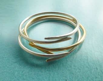 Willow Branch Bracelets, Gold and Silver Bracelet Trio, Silver Bangle, Gold Bangle, Hand Forged Bracelet, Handmade Gold and Silver Jewelry,
