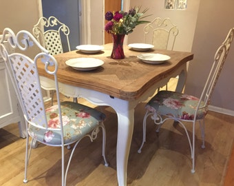 French Shabby Chic Large Extendable Table and 4 Chairs