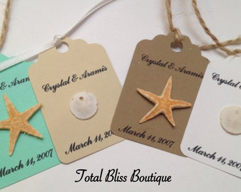 10 Personalized Beach Tags, Starfish/Sand Dollar Tags, Beach Theme Party and Beach Favors