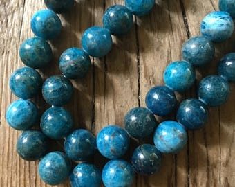 Blue Apatite Round Beads - Grade A - 10mm Round - Center Drilled - Blue Gemstone Beads - Polished - 06 Beads per Order