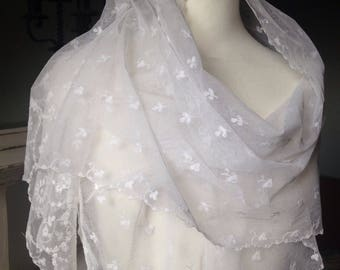 Antique Edwardian Lace Bridal Veil, Lace Shawl, Vintage Wedding, VSC4