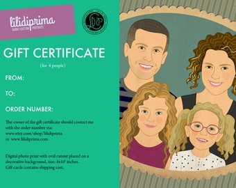 Gift Certificate. Custom family portraits. Christmas gift.  Portraits of 4 person.
