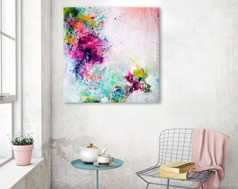 Original fine art abstract large painting, abstract art, textured canvas, acrylic painting, yellow green turquoise fuchsia, colorful artwork