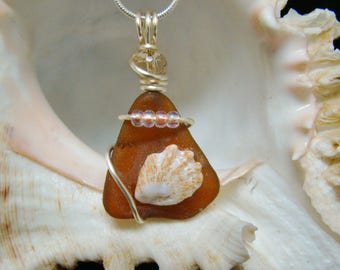 Amber Sea Glass Necklace with Kitty's Paw Shell