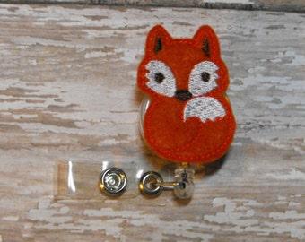 Red Fox felt badge reel, name badge holder, nurse badge, ID holder, badge reel, retractable badge clip, feltie badge reel