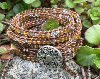 5-6 Wrap Copper and Silver Beaded Bracelet - Chan Luu Style