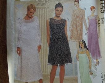 McCalls 9145, sizes 16-20, womens, petite, UNCUT sewing pattern, craft supplies, dress, evening wear