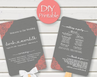 Coral Gray Wedding Program Template Printable Fan Lace Pink Digital DIY  Ceremony Order Of Events Paddle