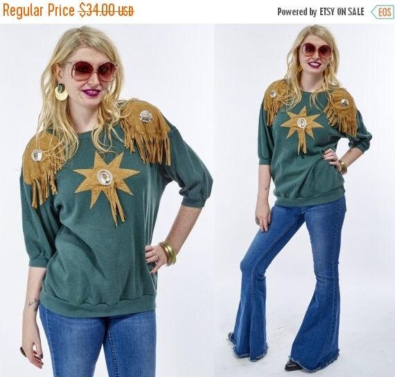 Vtg 80s Grunge Distressed Worn In Sweatshirt FRINGE Country Western Top Blouse Tunic CONCHOS Cowboy KITSCHY Retro Rocker Studded Boho Hippie