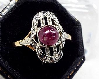 Antique Edwardian Cabochon Ruby Belle Époque Ring 18ct Gold Platinum / Size N