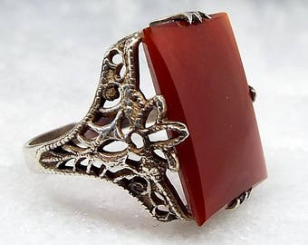 Vintage Sterling Silver Edwardian Art Deco Filigree Carnelian Slice Ring Size J 1/2