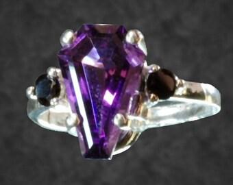 3 Carat Coffin Gem Accent Ring
