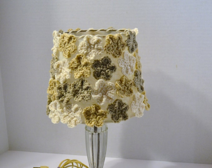 Crochet Lamp Shade White Ecru Beige Neutral Flowers Vintage Glass Lamp Shabby Cottage Romantic Boho Handmade   PanchosPorch