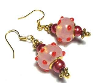 Pink Earrings, Glass Beads, Vintage Style Gold Tone - Hooks, Clip-On or Butterfly Studs (ET8-4)