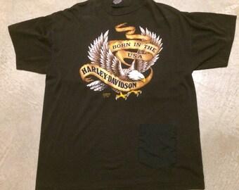 Vintage Harley-Davidson Born In The USA T-Shirt 3D Emblem 1990 Biker Motorcycle Americana