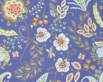 Dena Design fabric Sundance Oasis Vinithia  DF216 Orchid Blue white green brown craft floral sew quilt apparel freespirit fabric by the yard