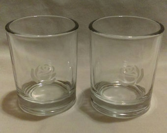 Etched Glass Votive Candle Holders