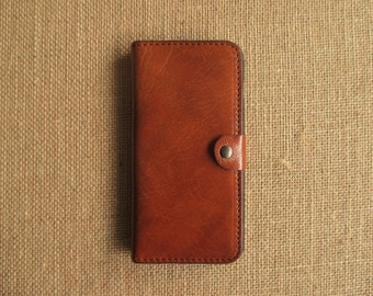 Leather iPhone 7 Plus case and wallet, handmade sleeve, cover, Eco-friendly leather