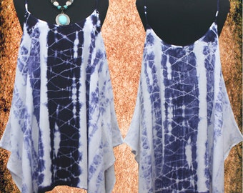 Indigo Tradition Shibori Hand dyed Wearable Art Spaghetti Tank Top