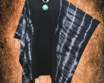 Charcoal Japanese Shibori Striped Hand dyed Cover Up Gypsy Poncho Top blouse