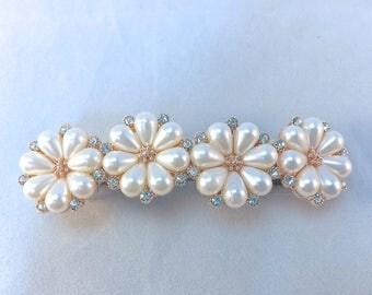 Pearl Barrette, Wedding Barrette, Bridal Barrette, Flower Barrette, Pearl Flower, French Barrette, Hair Accessory, Pearl Hair Clip, Sparkle