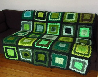 Green Crochet Blanket Green Afghan Blanket Granny Square Blanket Green Blanket Sofa Blanket