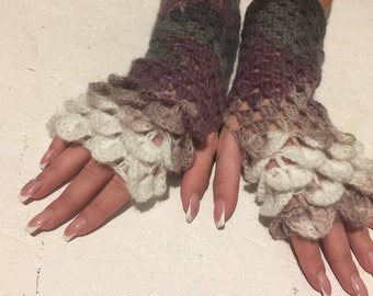 sale women  fingerless dragon scale gloves Fingerless gloves women   gift crochet women's gloves women's Arm Warmers  gift Accessory
