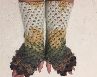 new crochet gloves Fingerless Crocheted Gloves women fingerless gloves Dragon Scale women's gloves women's Arm Warmers winter gift Accessory