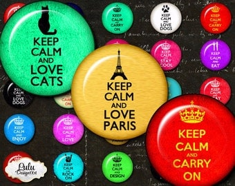 Keep Calm - circles image - digital collage sheet - 1 inch - Printable Download - bottlecap images, pendant images, pin buttons, printable