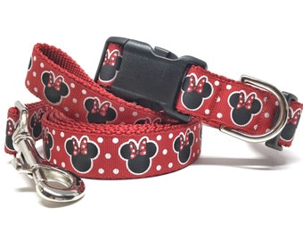 """Red Disney Minnie Dog Collar & Leash set -1"""" wide - Personalized Dog Collar - Engraved Dog Buckle Optional"""