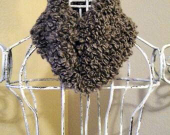 Soft, Warm and Fuzzy Dark Gray Infinity Scarf