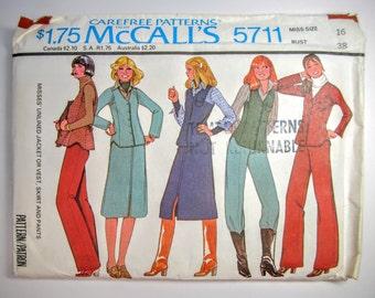 McCall's 5711 Misses Jacket Vest Skirt & Pants Sewing Pattern Size 16 Uncut