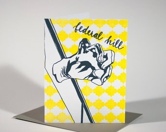 Baltimore Letterpress Card | American Visionary Art Museum | gray & yellow single blank card with envelope