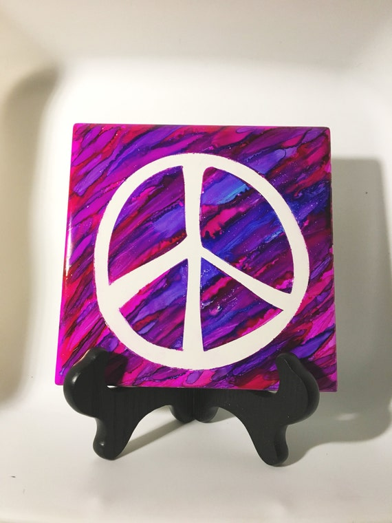 Peace Sign Bedroom Accessories: Items Similar To Ceramic Tile Decor, Peace Sign, Colorful