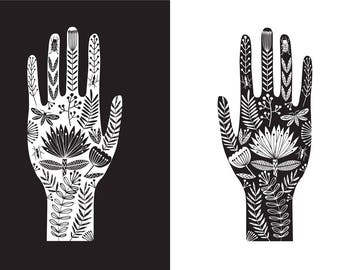 Tattoo bohemian hand illustration, A3 giclee print