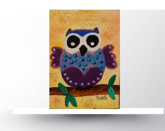 ACEO original. Acrylic Painting. OWL. Miniature Art. Artist Trading Card. Aceo art card.
