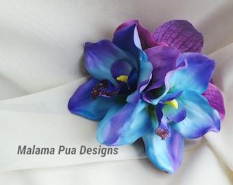 Bridal Hair clip, Tropical hair accessory, Blue, Purple, Bridal hair piece, Beach, Wedding Headpiece, silk orchid, Fascinator, silk orchids