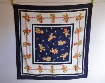 "Vintage Nautical bear scarf Nicole de Beavoir Paris  87cm x 87cm / 34.2"" x 34.2"""