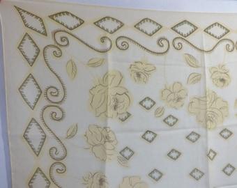 "Vintage Yellow Chiffon Flowers Floral scarf  78cm x 75cm / 30.7"" x 30.3"""