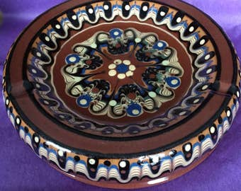 Traditional Bulgarian Pottery shallow Dish Hand Painted ashtray Made in Bulgaria Old Collectible Troyan pottery red earthenware Nostalgia