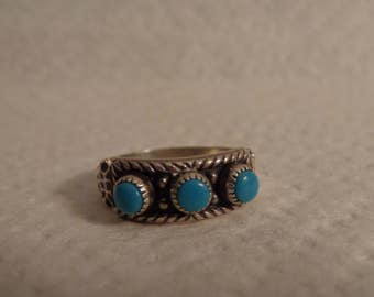 Sterling Silver and Turquoise 3 Stone Ring - size 6 1/2
