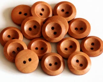 10 Orange Brown Buttons - mm - Wooden Buttons - Round Buttons - Natural Wood Button - Flat Edge Buttons - Rimmed Buttons - NW136